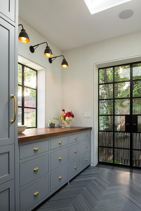 Grey paint with blue undertones Cabinets painted in Deep Silver Benjamin Moore