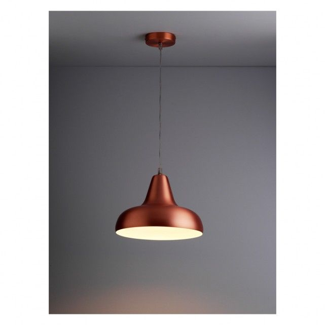 AERIAL Copper Brushed Metal Ceiling Light With White Interior