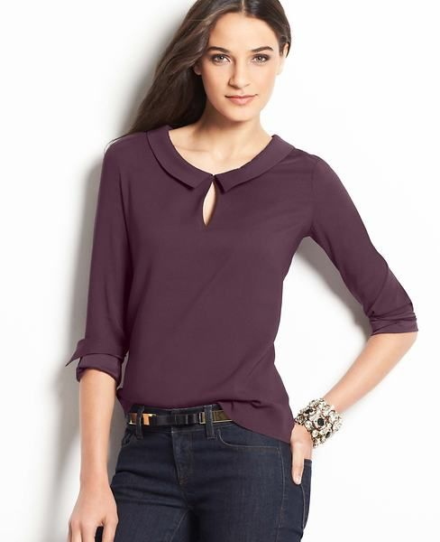 Collared Keyhole Blouse | Ann Taylor