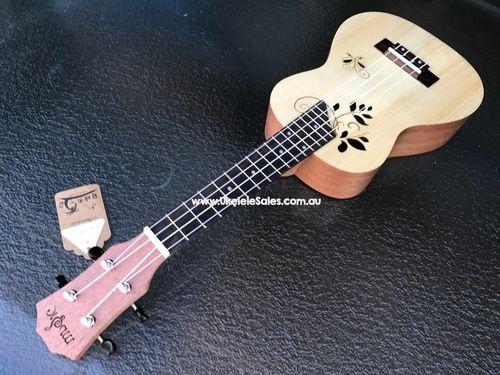 Concert Spruce Top ukulele, Laser cut butterfly  Leaf sound hole with Mahogany Body  ukelelesales.com.au