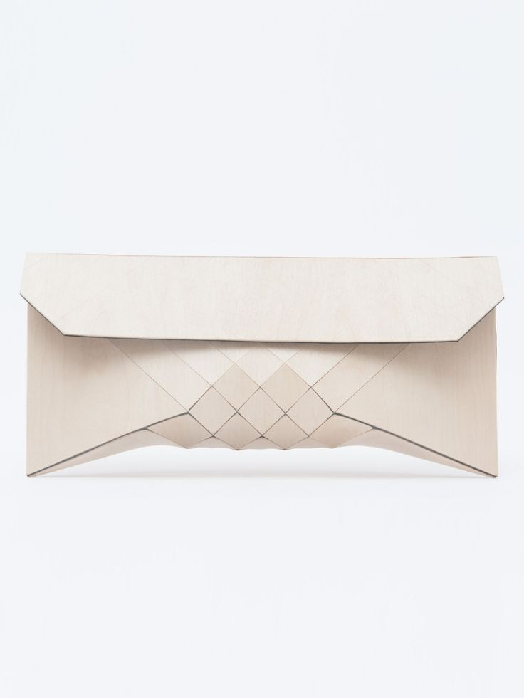 structured/100% birch wood | wearable wood clutch | teslermendelovitch