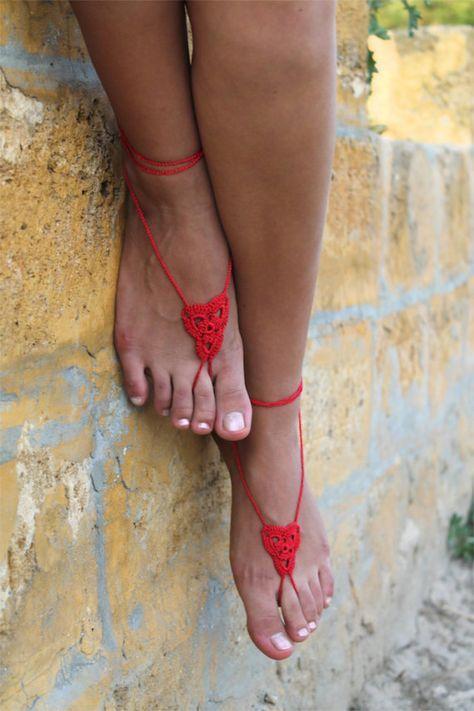 Uncinetto a piedi nudi sandali scarpe da sposa spiaggia