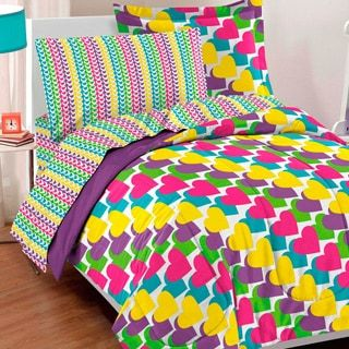 Dream Factory Rainbow Hearts Bed in a Bag with Sheets Set | Overstock.com Shopping - The Best Deals on Kids' Comforter Sets