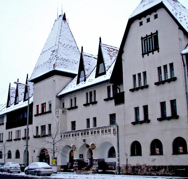 Wekerle | Kós Károly square building, winter. http://budapestpocketguide.com/budapest-yours-to-discover/wekerle-estate-centennial-year-1908.html #Budapest
