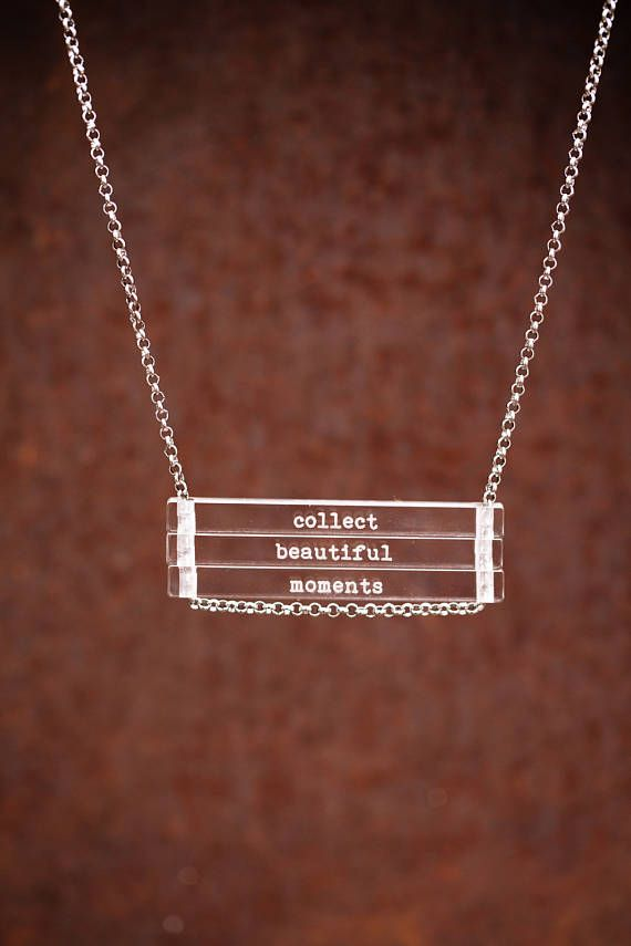 NEW Collect Beautiful Moments - clear bar necklace; stainless steel - waterproof - quote jewelry