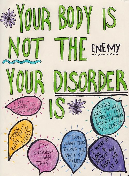 Your body is not the enemy your disorder is. #edrecovery #herstel #eetstoornis