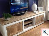 TV-Meubel Leah 200x50x50cm oud steigerhout 2 componenten lak push to open