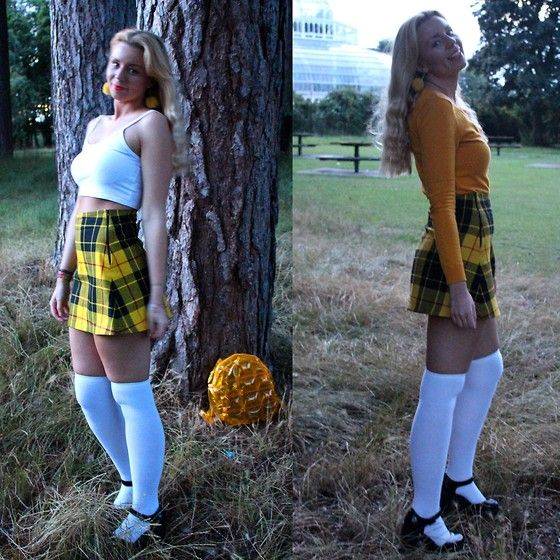 Get this look: http://lb.nu/look/7683472  More looks by Heather Barnes: http://lb.nu/hippiegoth  Items in this look:  H&M Mustard Yellow Cardigan, Primark White Crop Top, Love Too True Yellow Tartan Skirt, Ebay White Over Knee Socks, New Look Black Patent