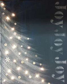 "2016/12/08 Age Group: Grade 1 though Adult Paint a sky background, a whimsical tree and stencil JOY across a 16x20"" canvas board. Finish it off by adding buttons and lights to make a glowing holiday picture. This craft involves painting. Kids in Grades 1-2-3 must be accompanied by a helper. (Let us know if you need a Confirmation Student Helper.) Number of Spaces: 16 COST $15 (Pay by check* or on Vanco.) *Make checks payable to Cross of Life"
