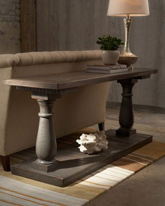 """""""Daphne"""" Console by Haute House at Horchow.  Two boards and two columns makes a super awesome entry table or couch table."""