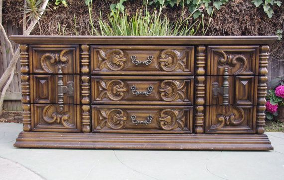 70 39 S Mediterranean Rococo Style Dresser Chest By Vintagerescues Vintage Rescues