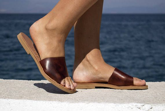 Flip Flop Leather Sandals  Waxed Brown Leather Sandals