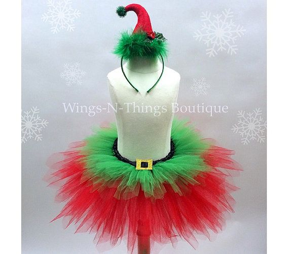 CHRISTMAS ELF TUTU Skirt Set w/ Elf Hat Headbeand, Children's Costume, Photo Prop, Santa Little Helper, Holiday, Toddler, Kids, Girls, Child by wingsnthings13. Explore more products on http://wingsnthings13.etsy.com