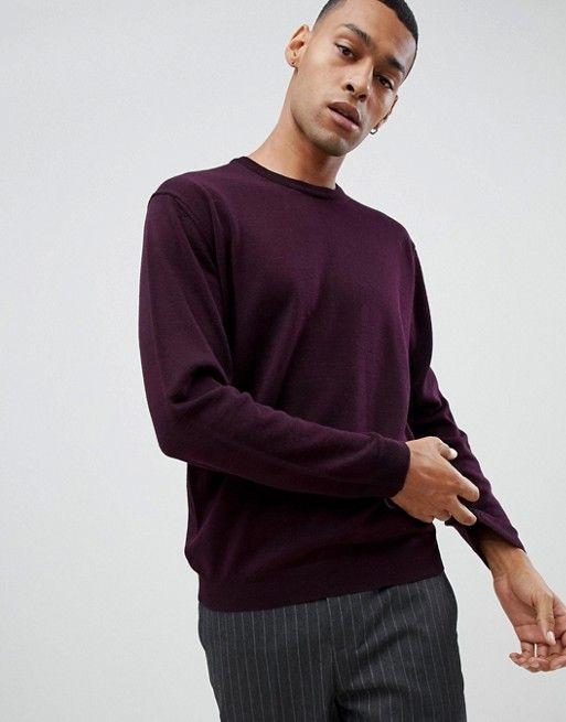 944e47edc22d Moss London merino crew neck sweater in burgundy