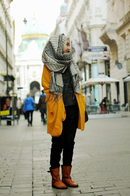Perfect hijab style for harsh winters