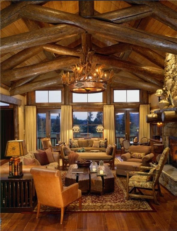 3844 best images about log home decor on pinterest cabin for Rustic great room