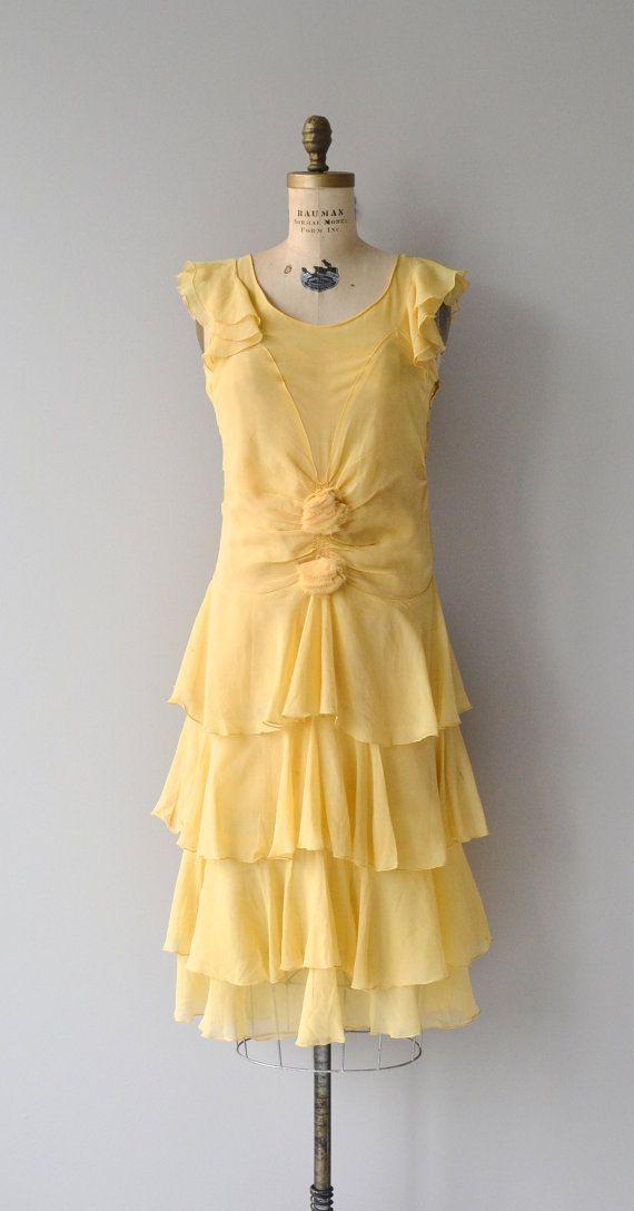 Daffodalia silk dress 1920s silk chiffon dress by DearGolden