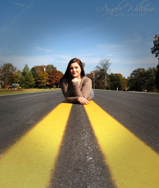 "Cool senior picture idea!!! Still, I can't help thinking that the next shot will be titled ""Roadkill""...just sayin'"