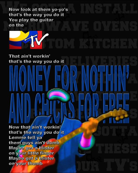 Money For Nothing by Dire Straits printable by PrintableSongParts $3.14 (USD)