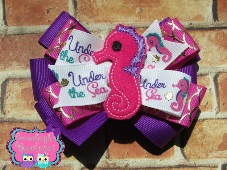 A personal favorite from my Etsy shop https://www.etsy.com/listing/230446533/under-the-sea-hair-bow-sea-horse-hair