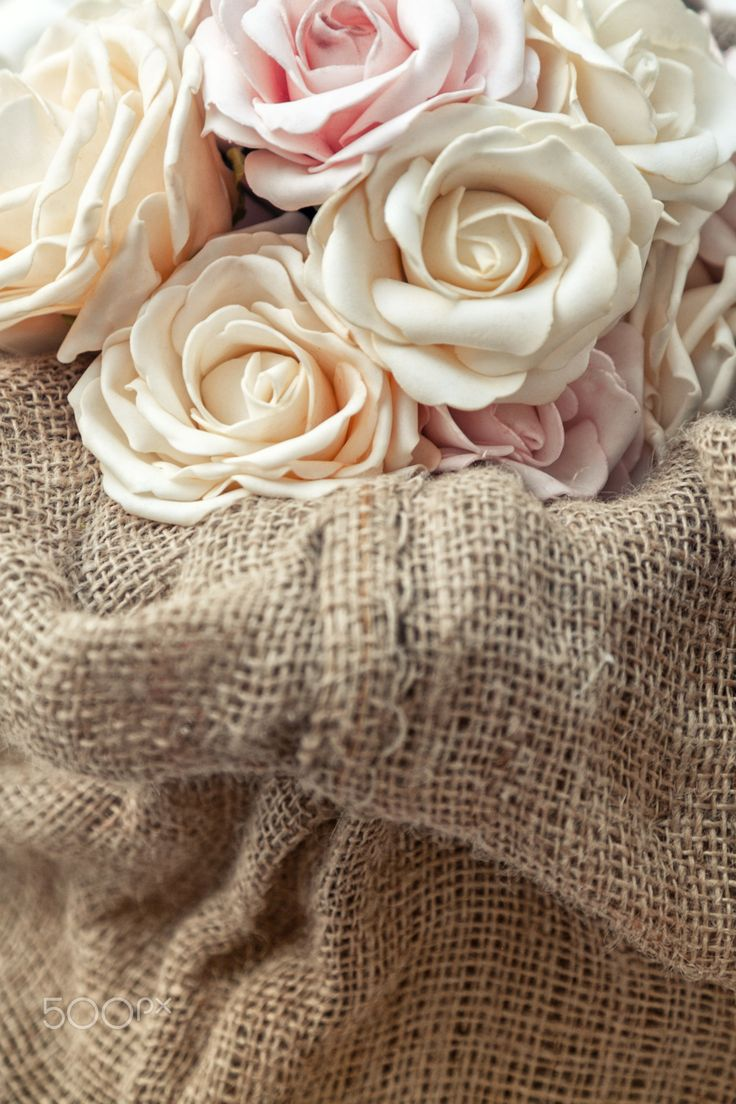 Marriage roses - Marriage roses on brown sackcloth