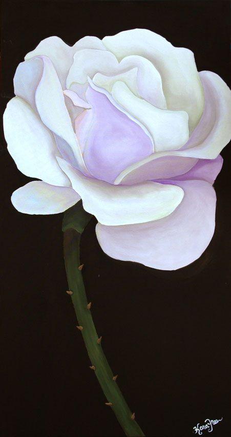 white rose on black background painting by kara freeman