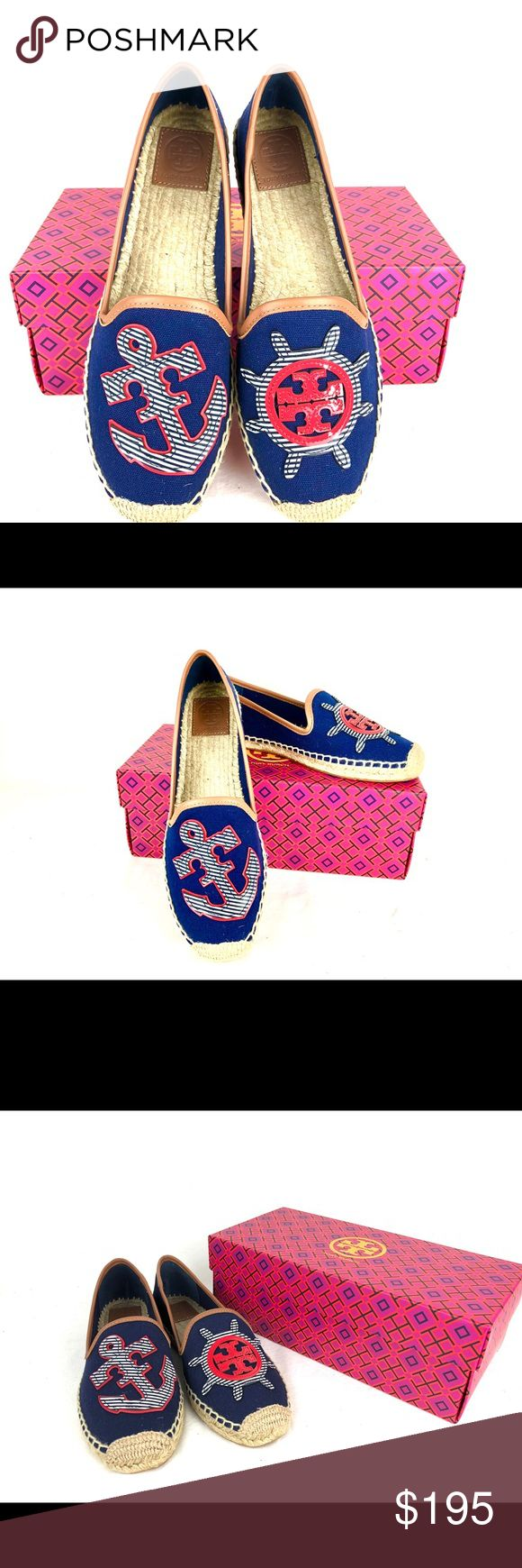 TORY BURCH Maritime Flat Espadrilles New with box! Nautical appliqués details these canvas Tory Burch Espadrilles. Leather piping trims the notches top line. Braided jute sidewall. Rubber sole. Fabric: Canvas. Size: 9.5 Tory Burch Shoes