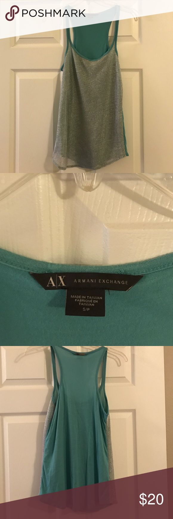 Armani Exchange silver/teal mesh overlay tank Super chic tank, never worn, looks cute with leather or liquid leggings for a night out or jeans for day. Metal logo on back. A/X Armani Exchange Tops Tank Tops
