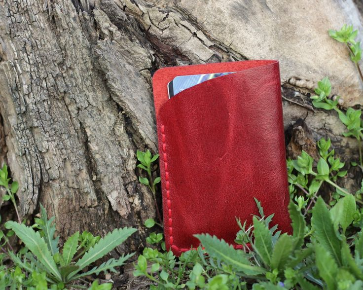 Leather travel wallet Red minimalist wallet Leather card holder wallet Red leather card wallet Minimalist travel cardholder Free gift by KodamaLife on Etsy