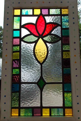 victorian tulip leaded stained glass window