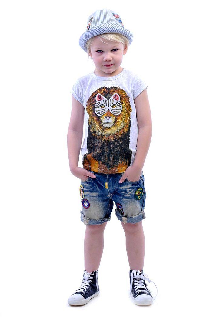 Masked Lion tee (Collaboration with Sandra Dieckmann) denim Kerouac Shorts and Traveller Fedora in blue pinstripe | Rock Your Kid summer 14 / 15 |