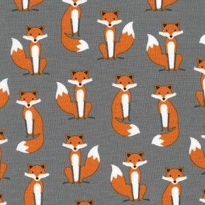 Tkanina Mr. Fox Mini Grey Robert Kaufman