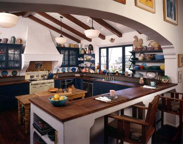 really like the blue cabinets mediterranean home design ideas pictures remodel and decor spanish colonial kitchenmediterranean - Colonial Kitchen Ideas