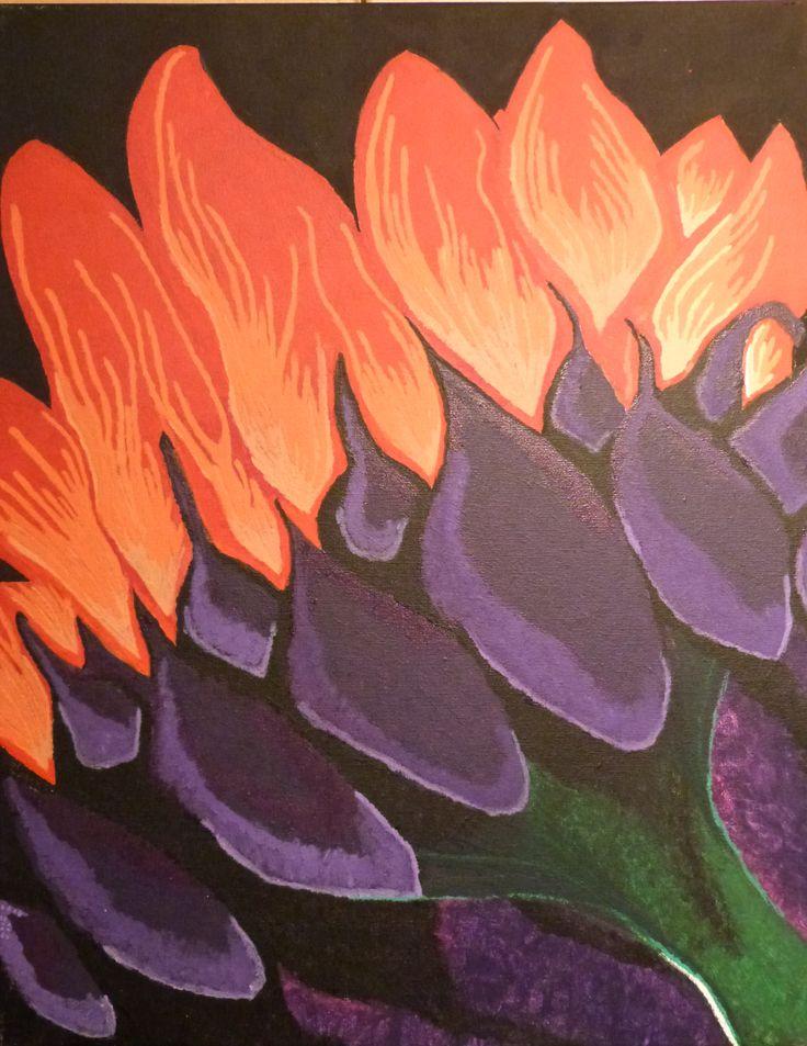 Midnight Flower - Acrylic on Canvas - Sarah Coggan