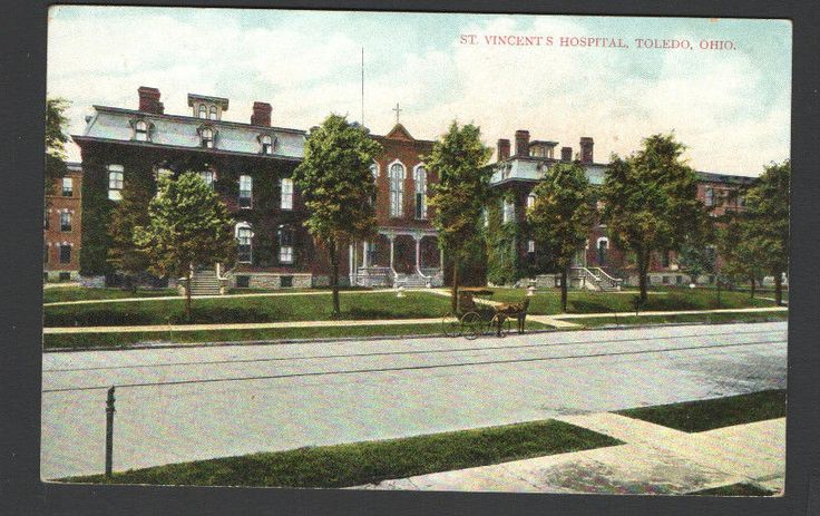 Postcard St. Vincent's Hospital, Toledo, Ohio Horse & Buggy out front Germany
