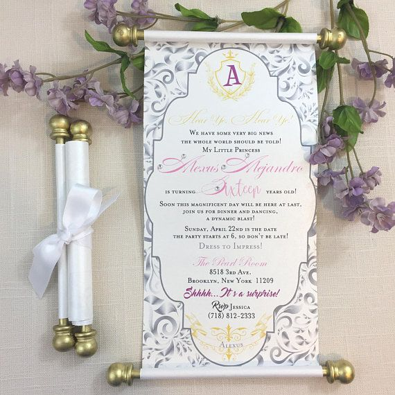 Princess Sweet 16 Lavender Purple Gold Pink Scroll Set Of 10 Quince Wedding Handmade Prince Sweet S Quinceanera Party Unique Birthday Invitations Invitations