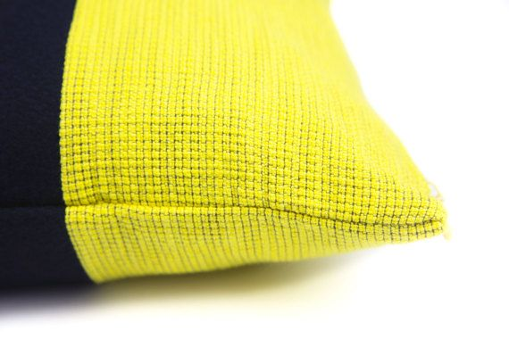 Cashmere Navy & Yellow Cushion Cover by LINT by LINThomeware