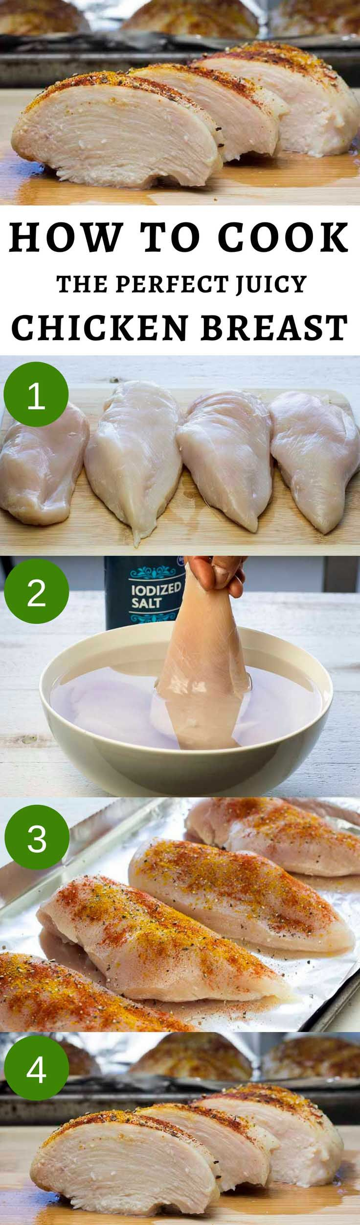 Follow this easy guide to bake the perfect chicken breast in the oven. You will always get a perfectly tender, juicy, and yummy result. #bakedchicken #brining #howtobakechicken #chickenbreast