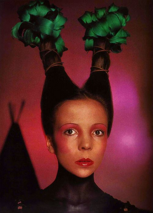 Penelope Tree by David Bailey for Vogue Italia, 1970 makeup by Serge Lutenshair by Aldo Coppola