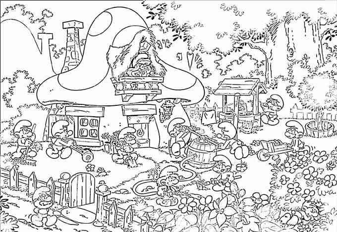 De smurfen colouring pages pinterest coloring and for Smurf house coloring pages