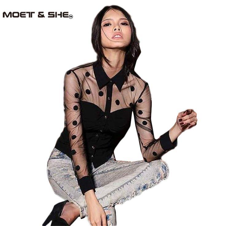 プラスサイズxxl女性服ファッション長袖レトロメッシュ透明シフォン水玉シャツブラウス黒T55223