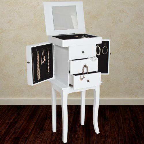 Comodino SPECCHIO GIOIELLI PORTAGIOIE bianco  Save space, be tidy!