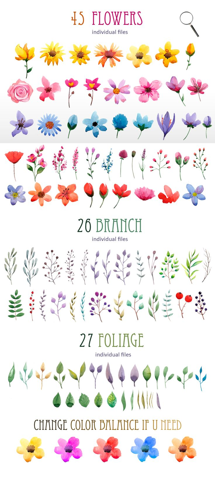 Watercolour elements. Create wreath - Illustrations - 2