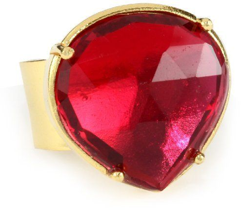 """Coralia Leets Jewelry Design """"Riviera"""" Teardrop Adjustable Red Quartz Ring Coralia Leets Jewelry Design. $183.99. Matte Finish. Made in USA. Adjustable from size 6-8. Stone shape and colors may vary according to the natural process.. Sterling Silver Plated with 22K Gold (Vermeil). Save 52% Off!"""