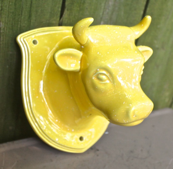 vintage ceramic cow head - Fiestaware yellow wall mount cow head