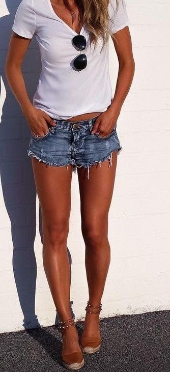 #summer #fblogger #outfits | White Tee + Denim Shorts                                                                             Source