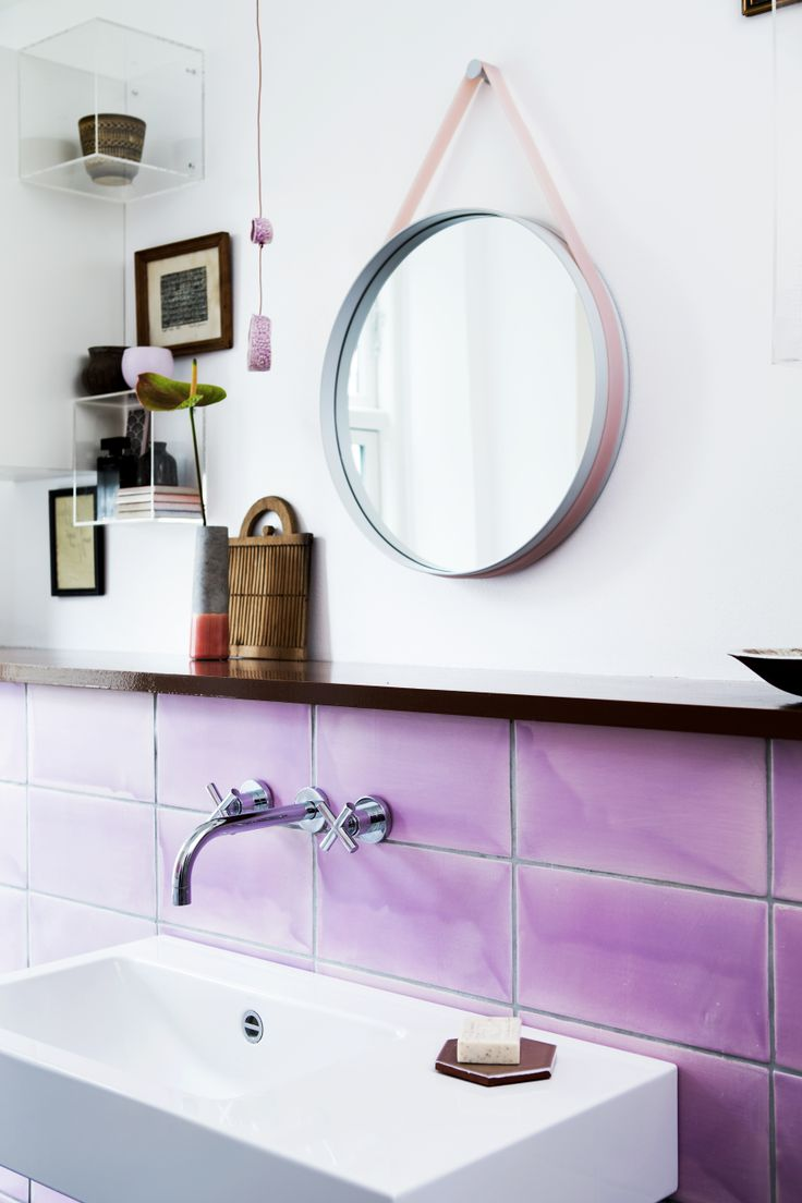 oversized glazed tiles handmade by the Danish company Made a Mano: Radiant Orchid, Pink Tile, Interior, Idea, Round Mirror, Purple Tile, Pantone Color, Bathroom Tile, Pink Bathroom