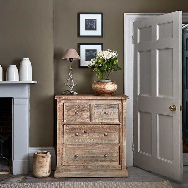 The Austen 4 Drawer Chest features a rustic white wash finish and spacious  drawers for style and storage.