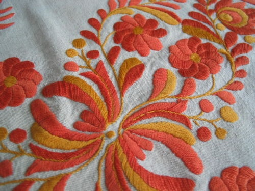 Vintage Hungarian Matyo embroidery on pillowcase