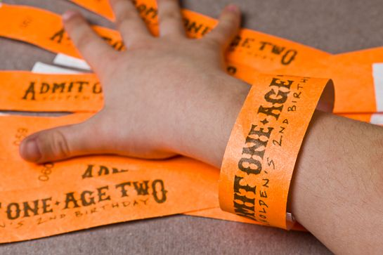 rockstar birthday party wristbands.  it's absurd that he's two, but there are some ideas here...